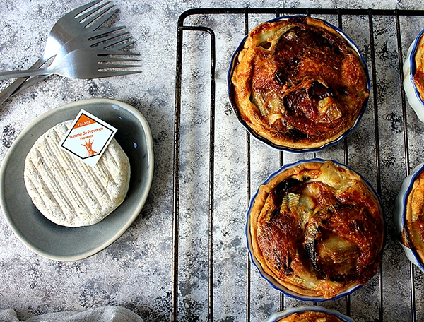 Grilled eggplant and Tome de Provence mini quiches