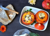 Rice, mushrooms and Saint Nectaire stuffed red kuri squash