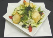 Cooked goats cheese with pears